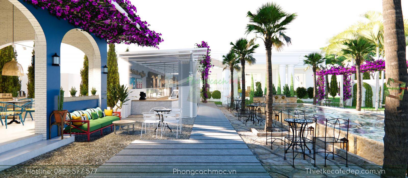 thiết kế không gian sân vườn quán cafe