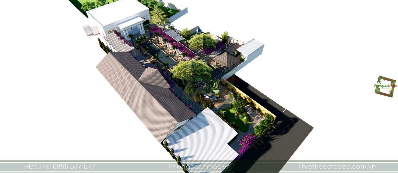 layout thiết kế quán cafe không gian sân vườn
