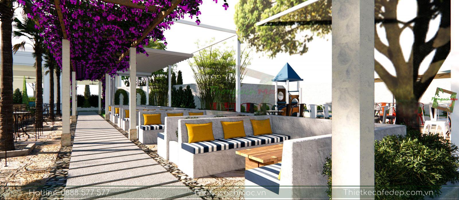 thiết kế bày trí bàn ghế nội thất sân vườn quán cafe