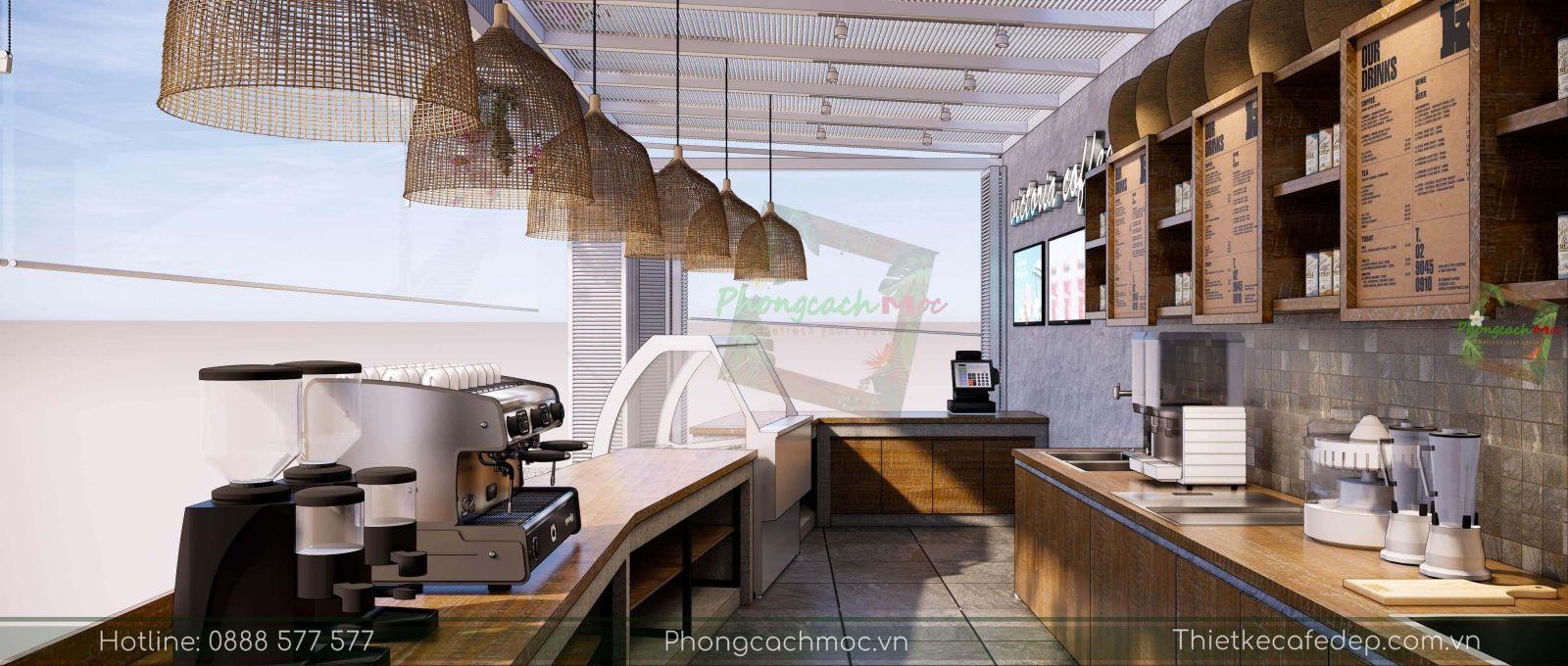 thiết kế quán cafe khu vực quầy bar