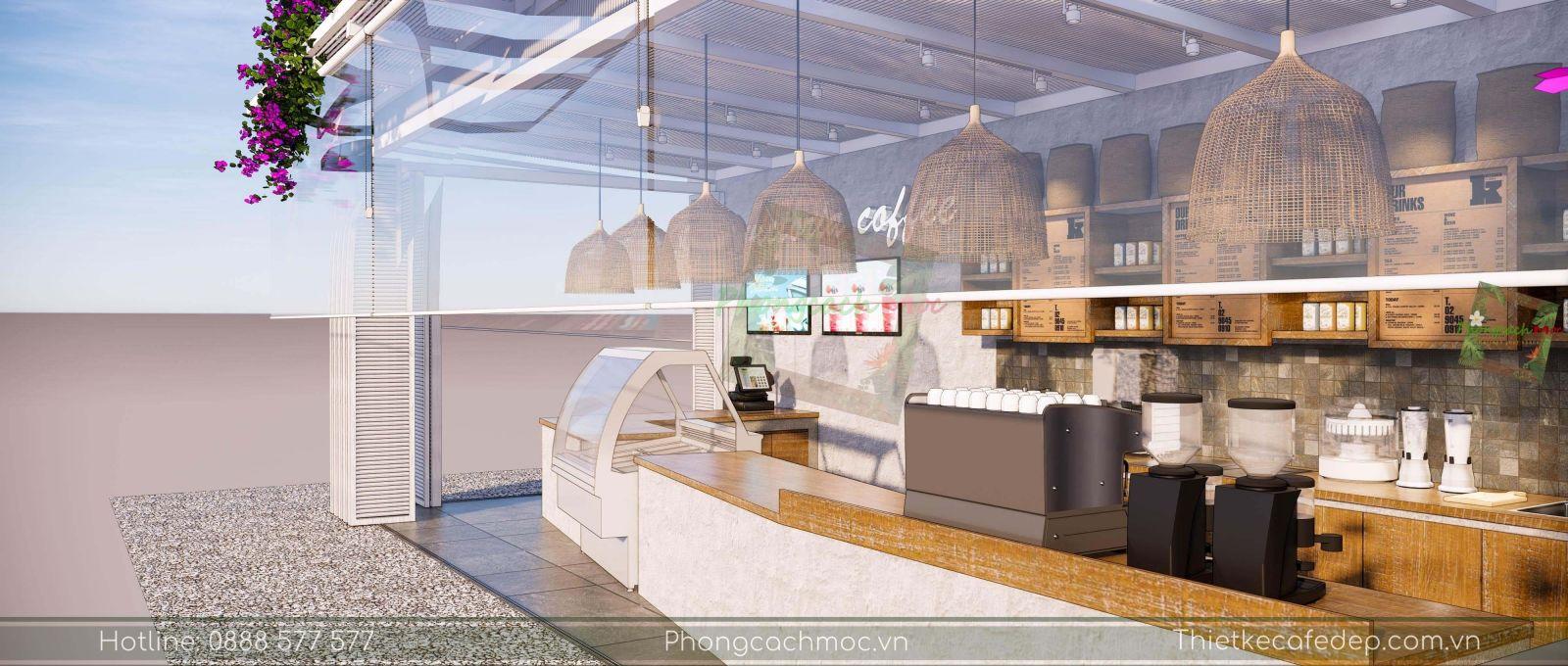 layout thiết kế quán cafe khu vực quẩy bar