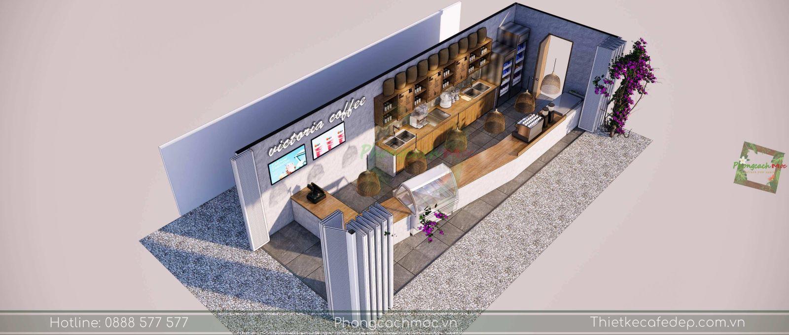 layout thiết kế khu vực quầy bar quán cafe victoria coffee