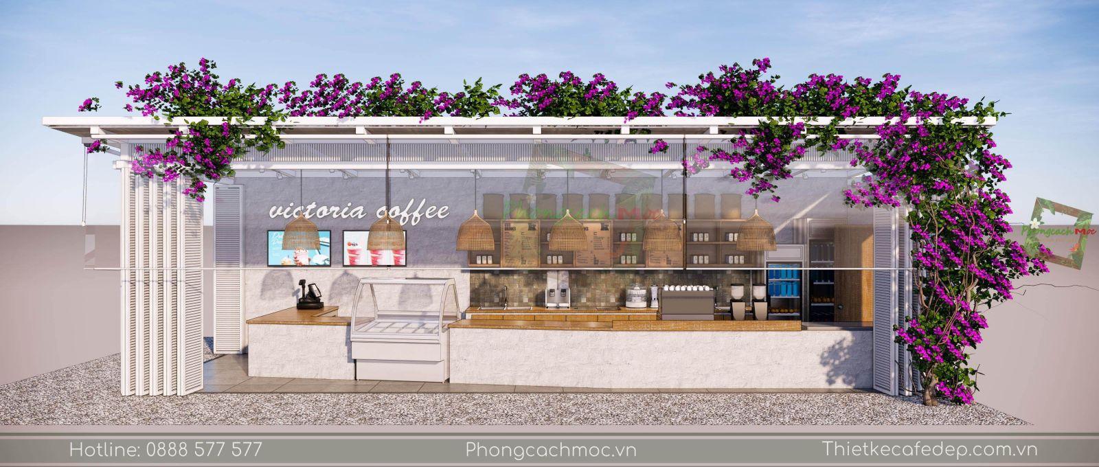 thiết kế quán cafe sân vườn khu vực quầy bar - 3