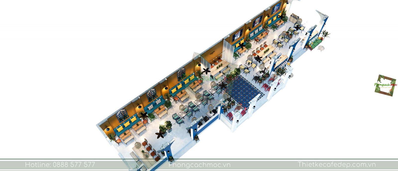 thiết kế quán cafe địa trung hải layout