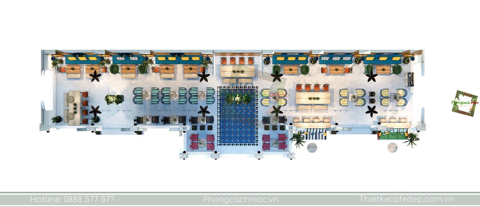 thiết kế quán cafe địa trung hải layout - 2