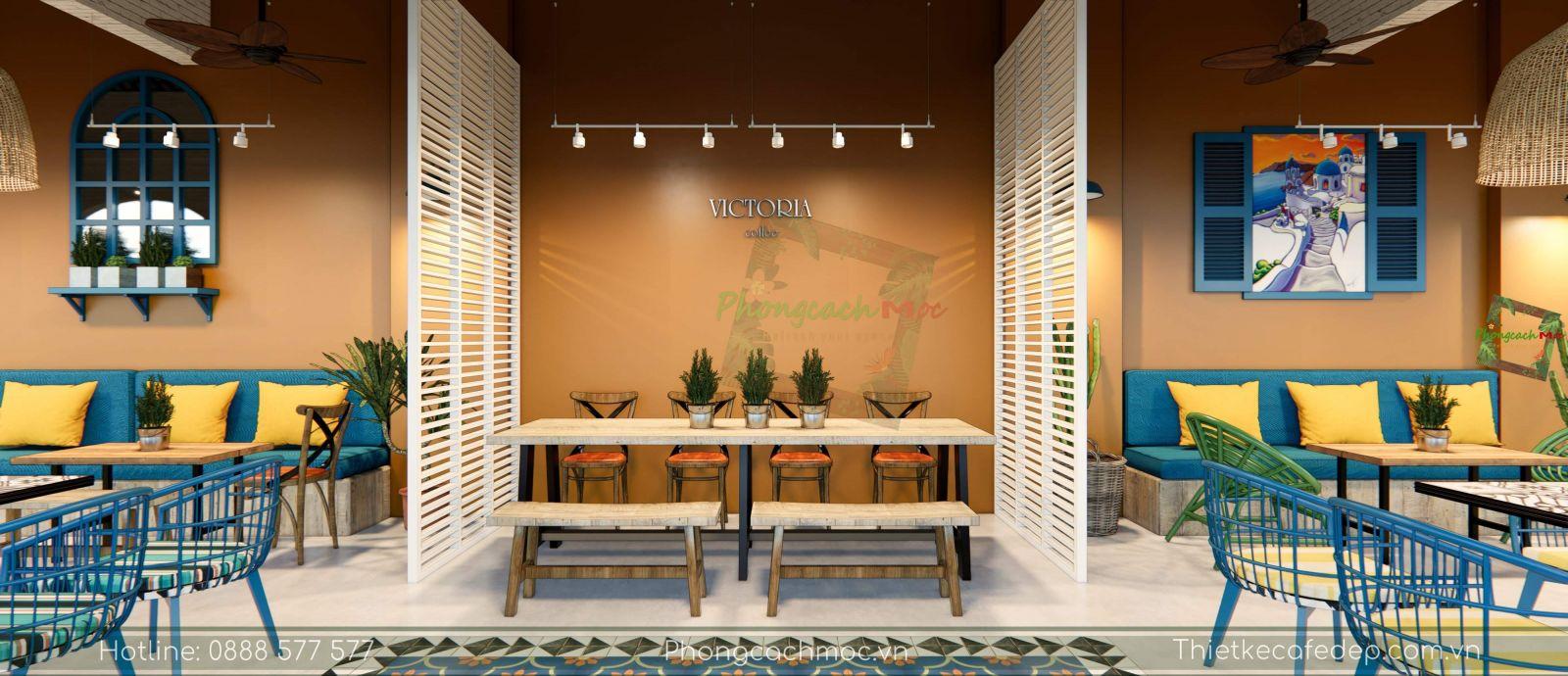 thiết kế quán cafe địa trung hải không gian phòng lạnh -2