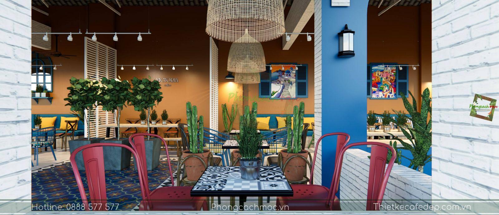 thiết kế quán cafe địa trung hải không gian phòng lạnh - 3