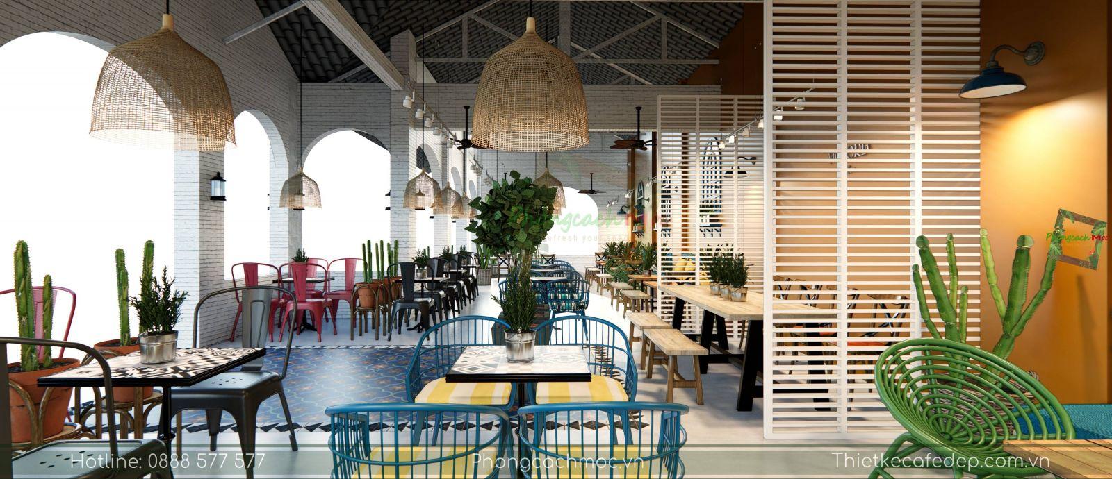 thiết kế quán cafe địa trung hải không gian phòng lạnh -6