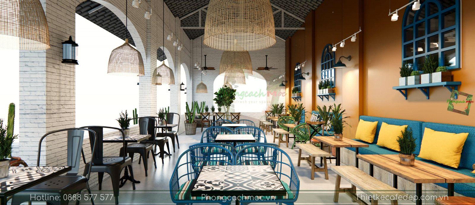 thiết kế quán cafe địa trung hải không gian phòng lạnh - 7