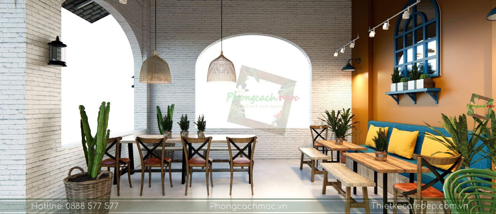 thiết kế quán cafe địa trung hải không gian phòng lạnh - 8