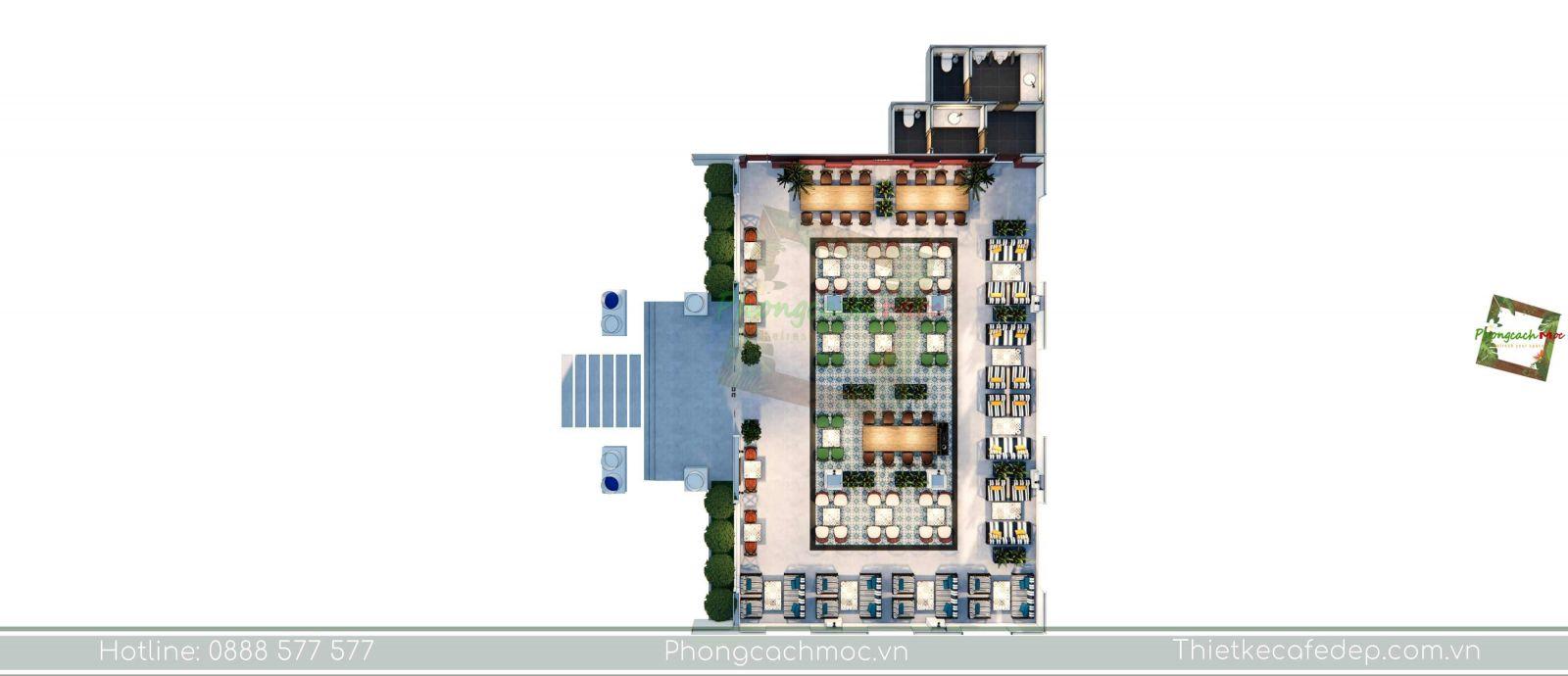 thiết kế quán cafe layout không gian phòng lạnh - 2