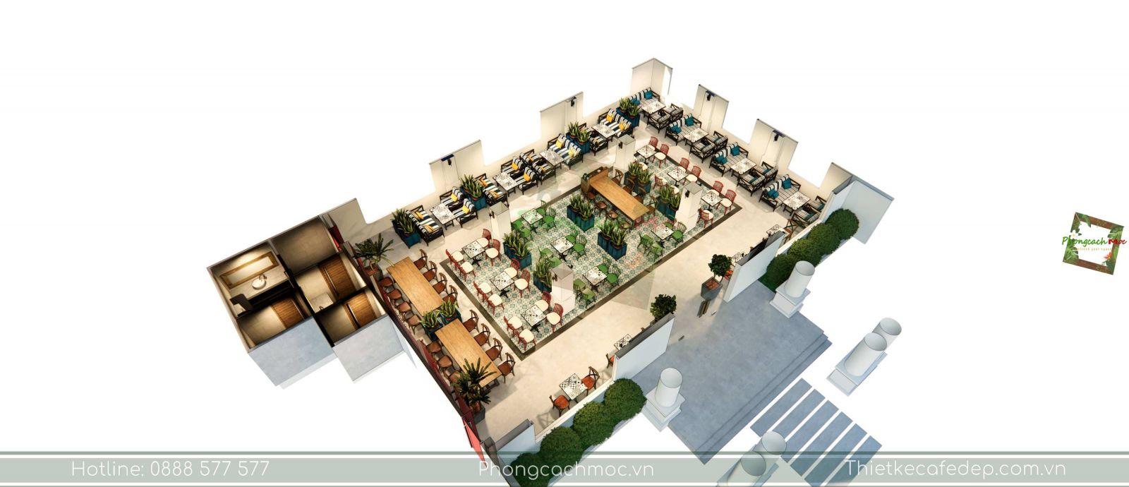 thiết kế quán cafe layout không gian phòng lạnh - 3
