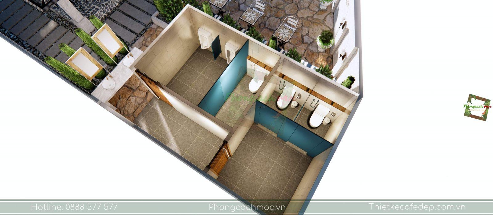 thiết kế quán cafe khu vực nhà vệ sinh