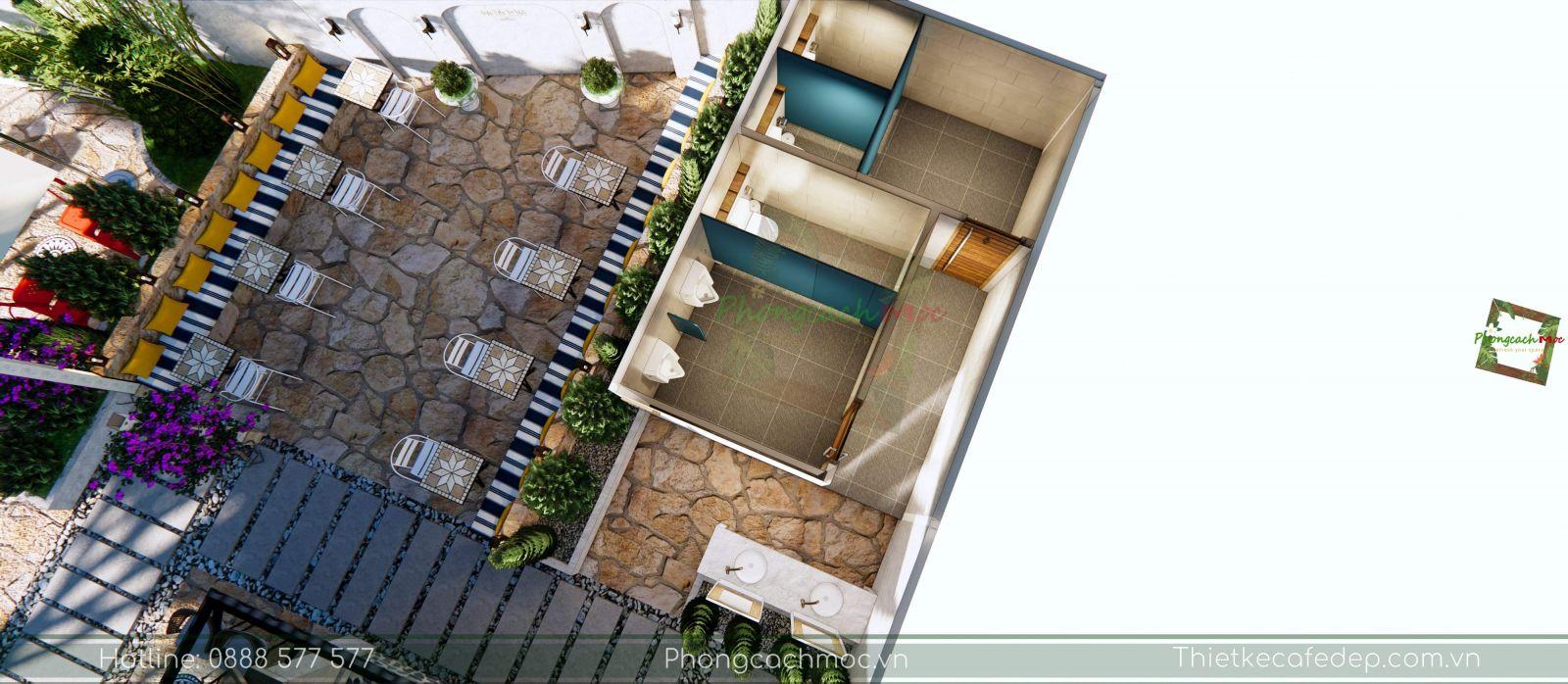 thiết kế quán cafe layout phân khu chức năng