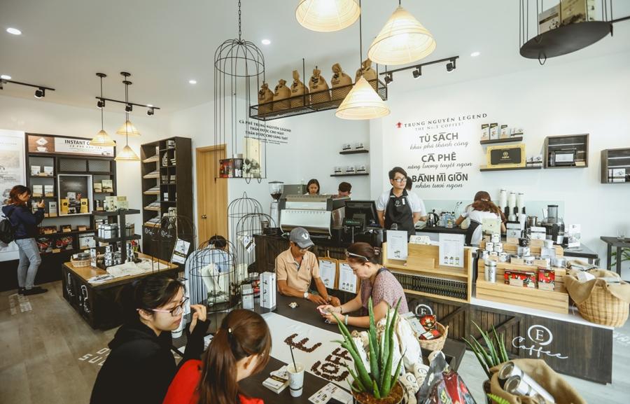 mô hình quán e coffee thuộc chuỗi cửa hàng trung nguyên legend cafe