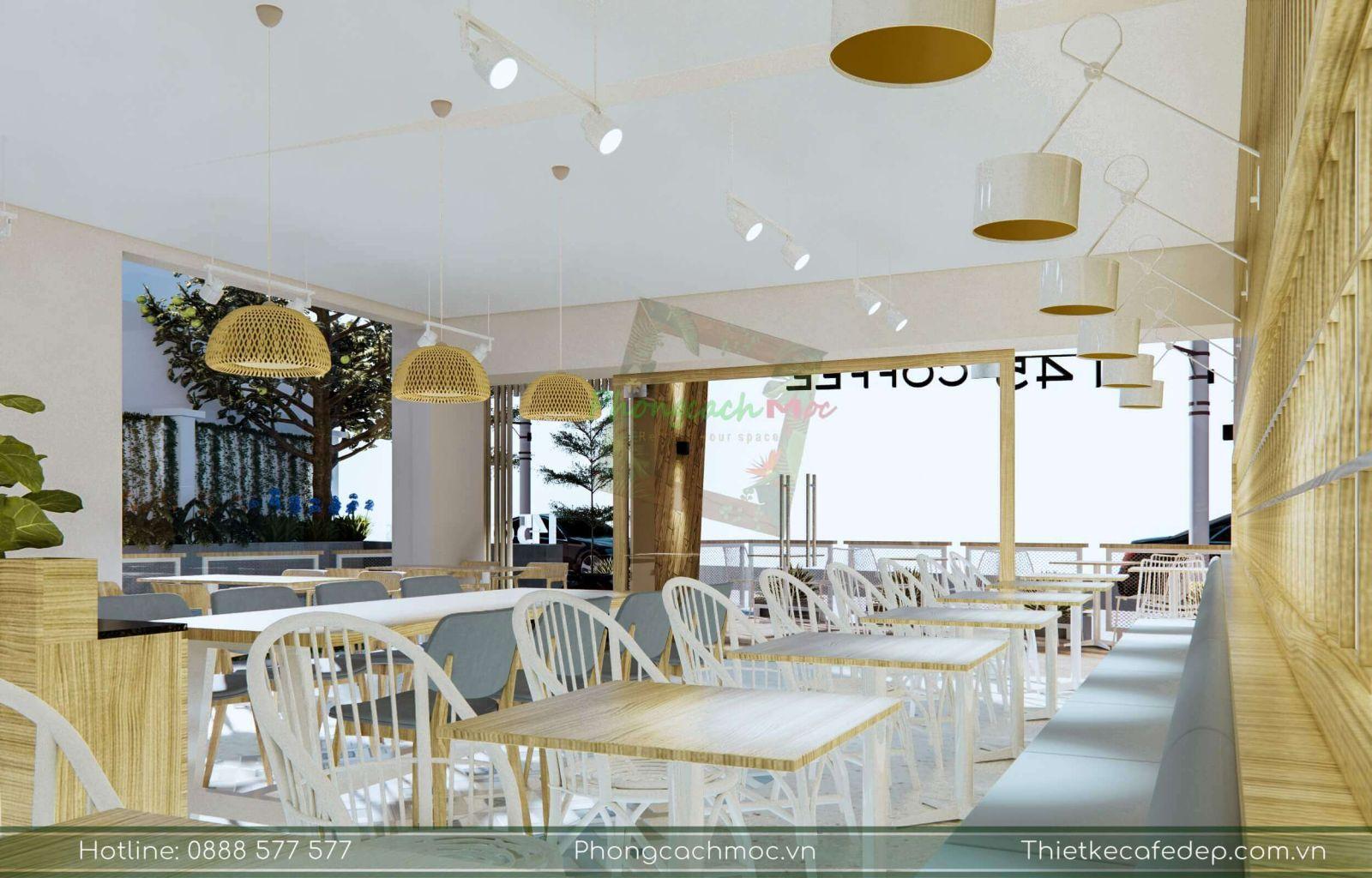 nội thất phòng lạnh quán cafe 145 coffee được thiết kế theo chủ đề hiện đại