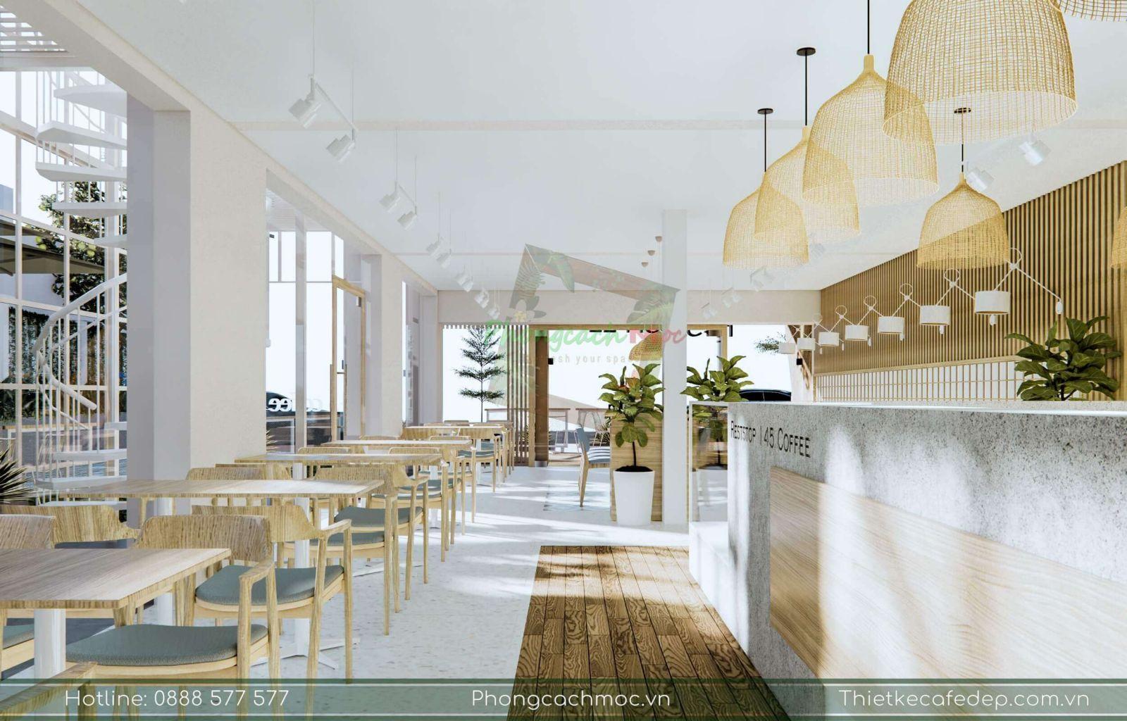 cách bày trí nội thất tận dụng tối đa diện tích của quán cafe