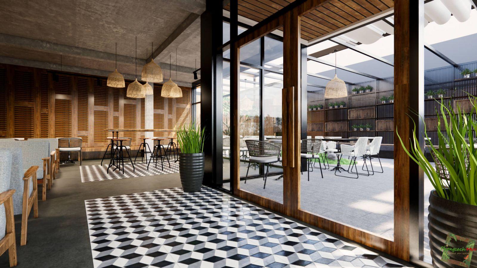 thiết kế không gian mở quán cafe hiện đại