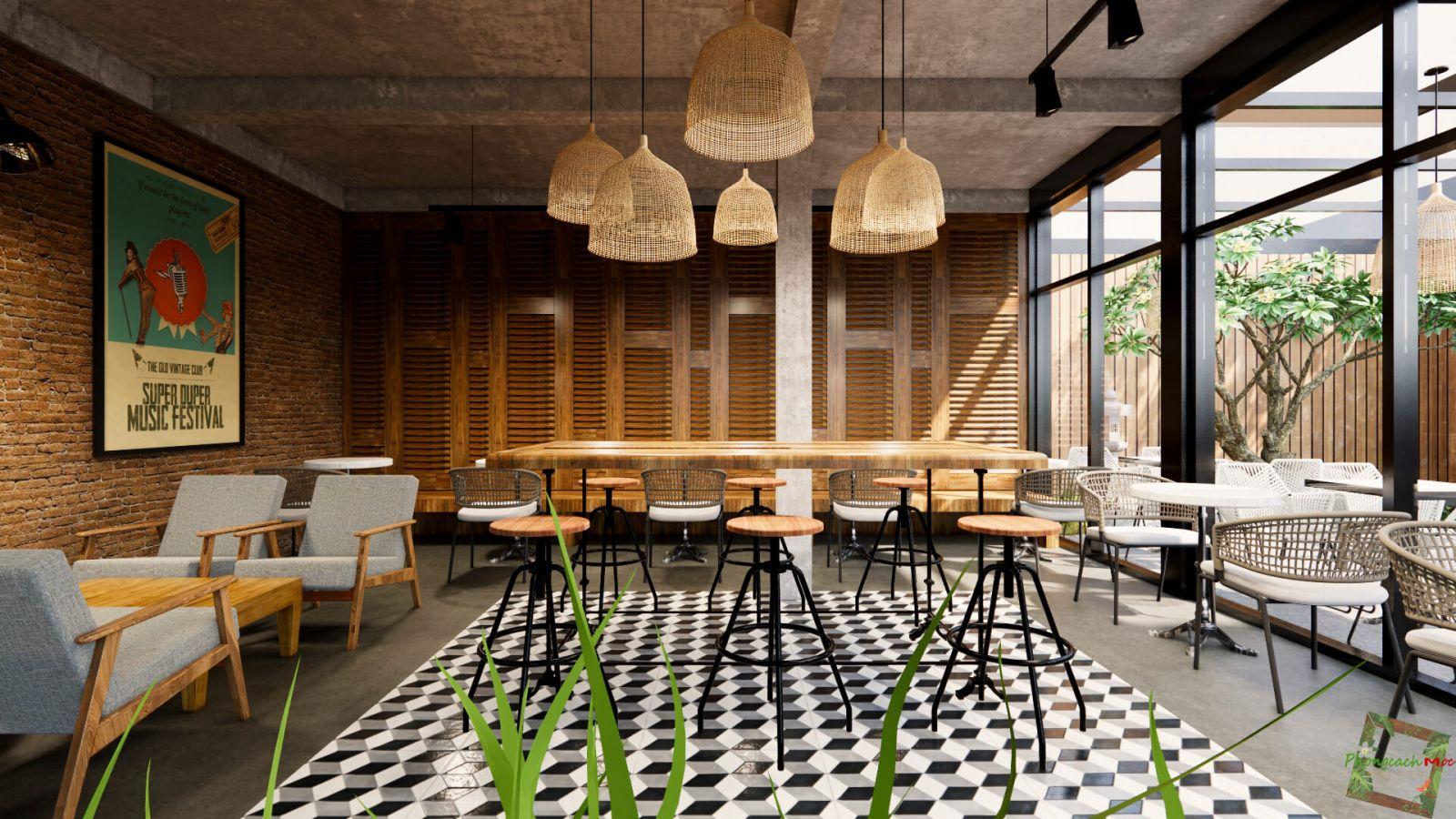 không gian nội thất phòng lạnh quán cafe tre xanh