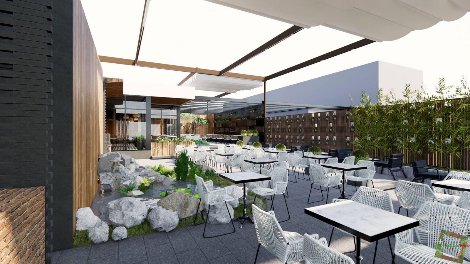 không gian ngoài trời quán cafe tre xanh thiết kế theo chủ đề hiện đại