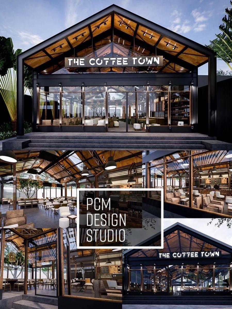 dự án the coffee town sử dụng phong cách thiết kế industrial