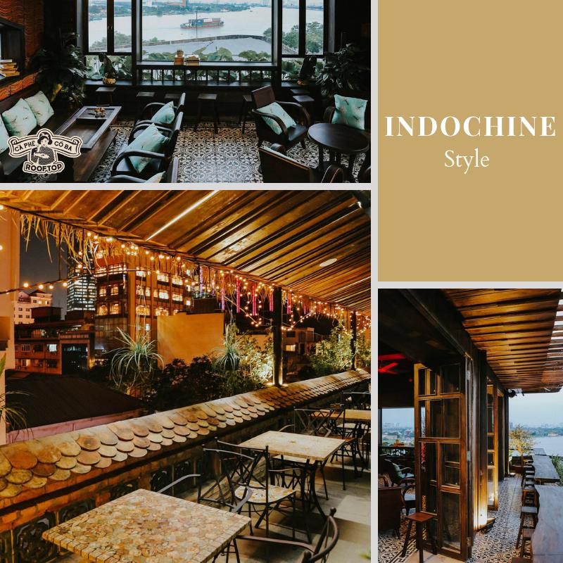 phong cách thiết kế nội thất quán cà phê indochine