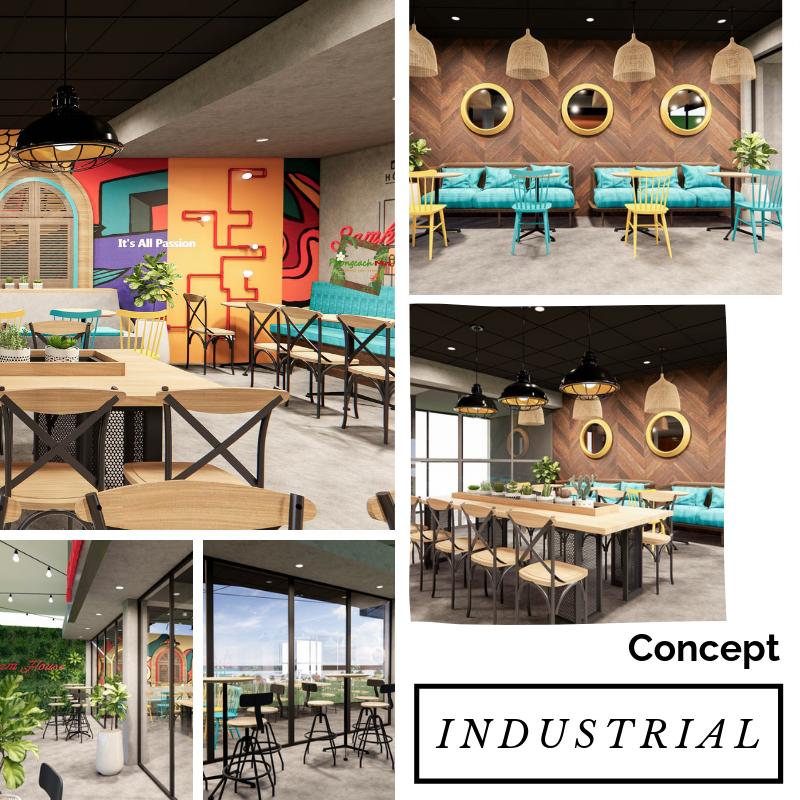 chủ đề thiết kế cafe theo phong cách industrial