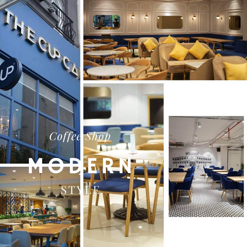 chủ đề phong cách thiết kế quán cà phê hiện đại
