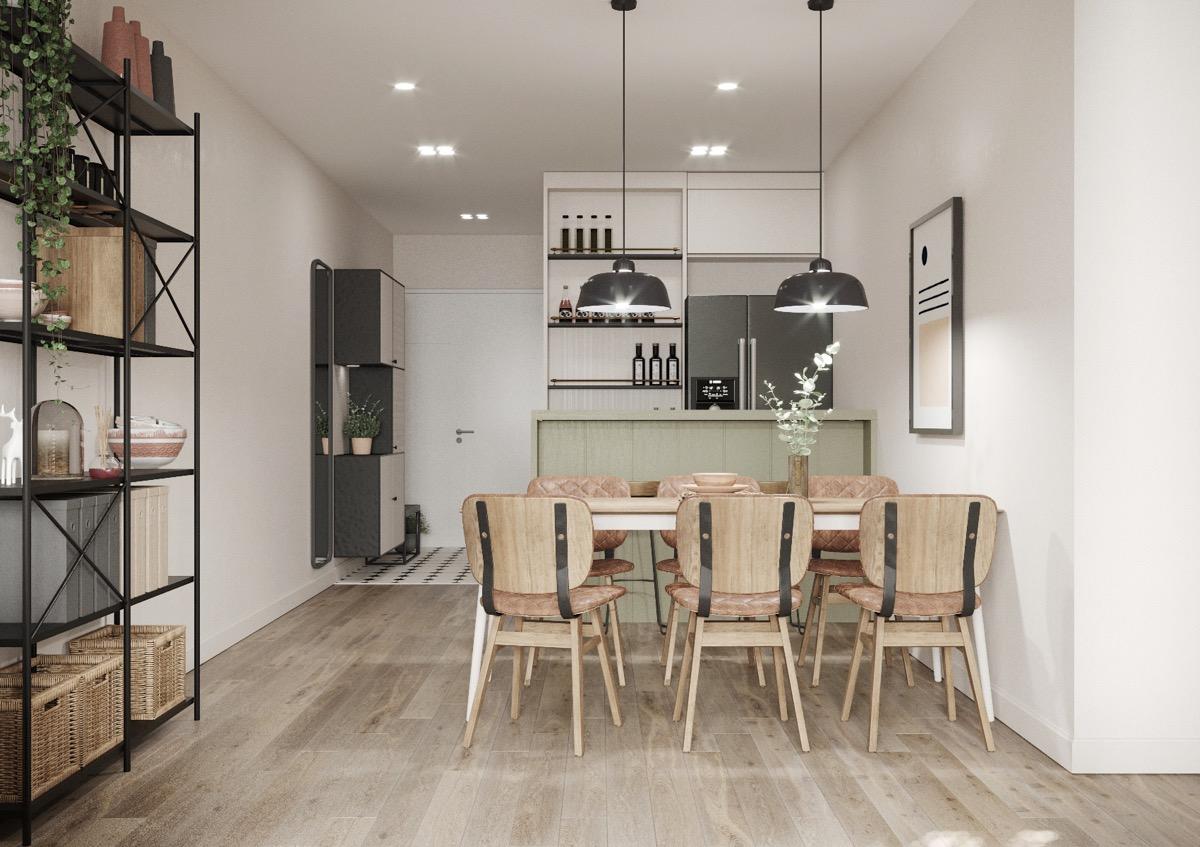 kết hợp phòng khách và phòng ăn trong căn hộ diện tích nhỏ