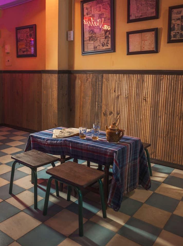 không gian nội thất quán cafe thi công theo phong cách indochine