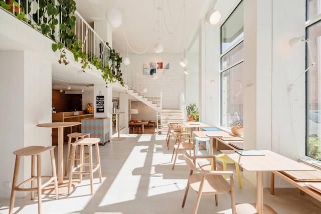 không gian nội thất quán cafe thiết kế phong cách scandinavian