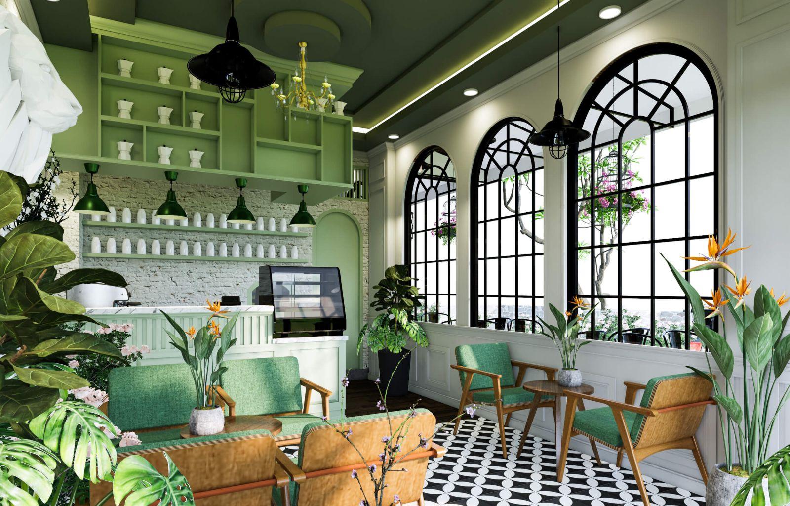 không gian nội thất quán cafe 5717 thiết kế phong cách nhiệt đới