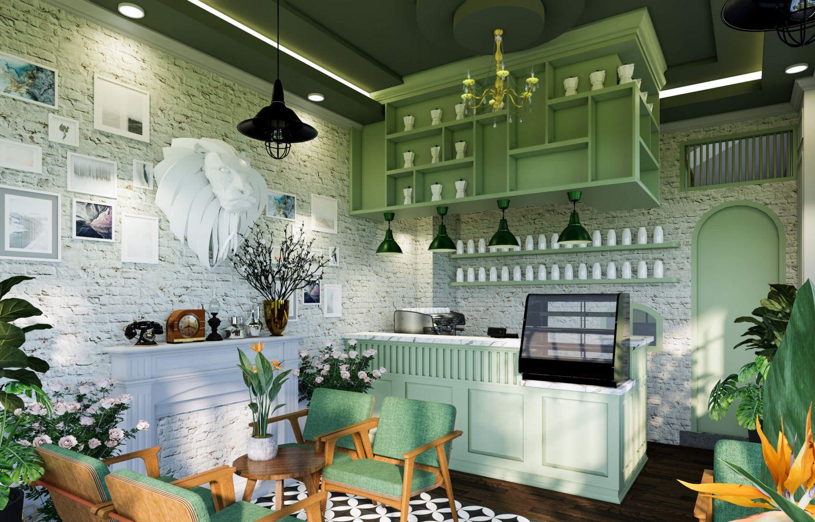 không gian nội thất quán cafe thiết kế tropical