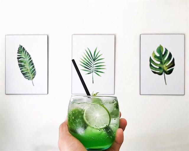 trang trí tranh tường quán cafe thiết kế nhiệt đới